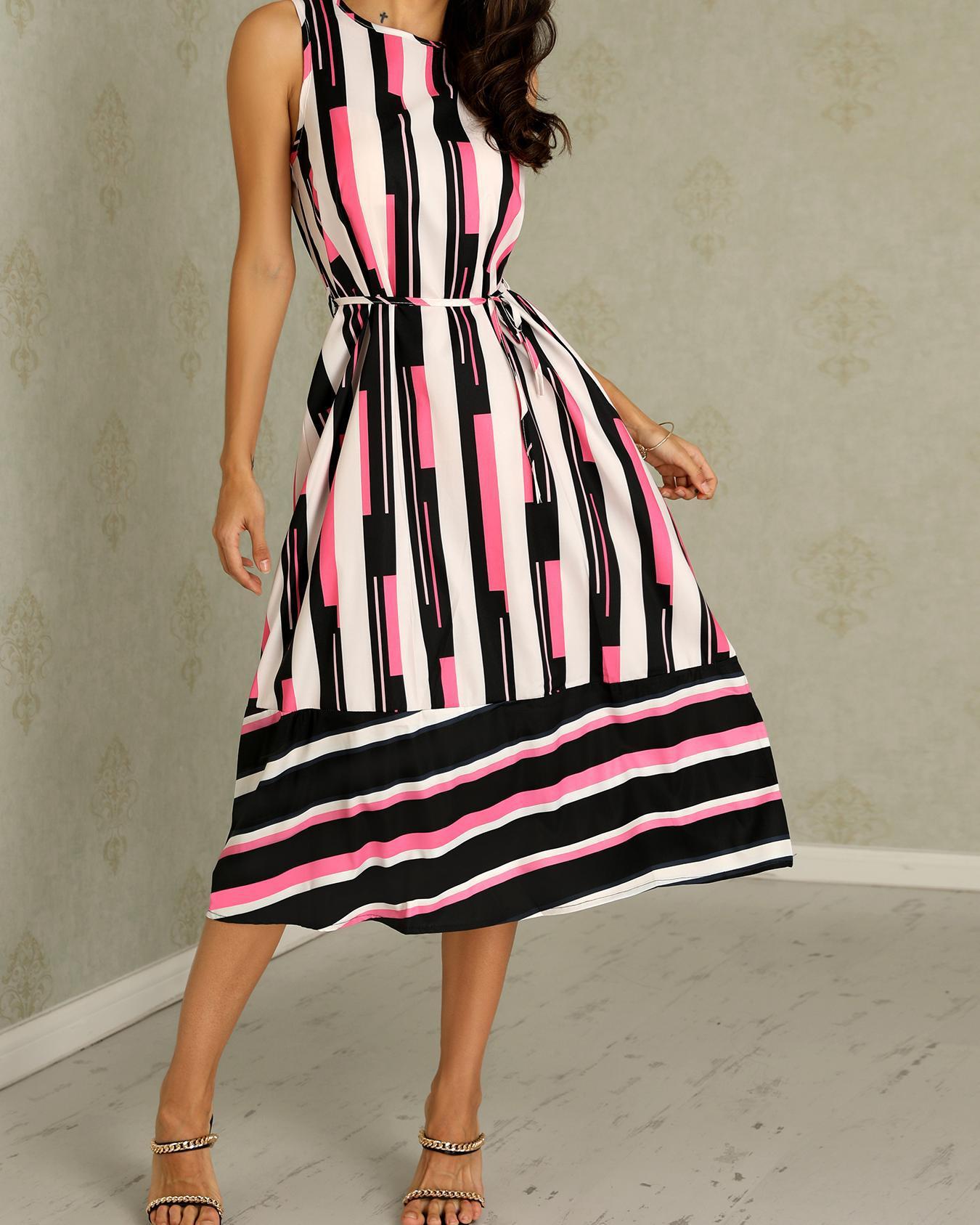 Stripes Splicing Tied Waist Maxi Dress фото