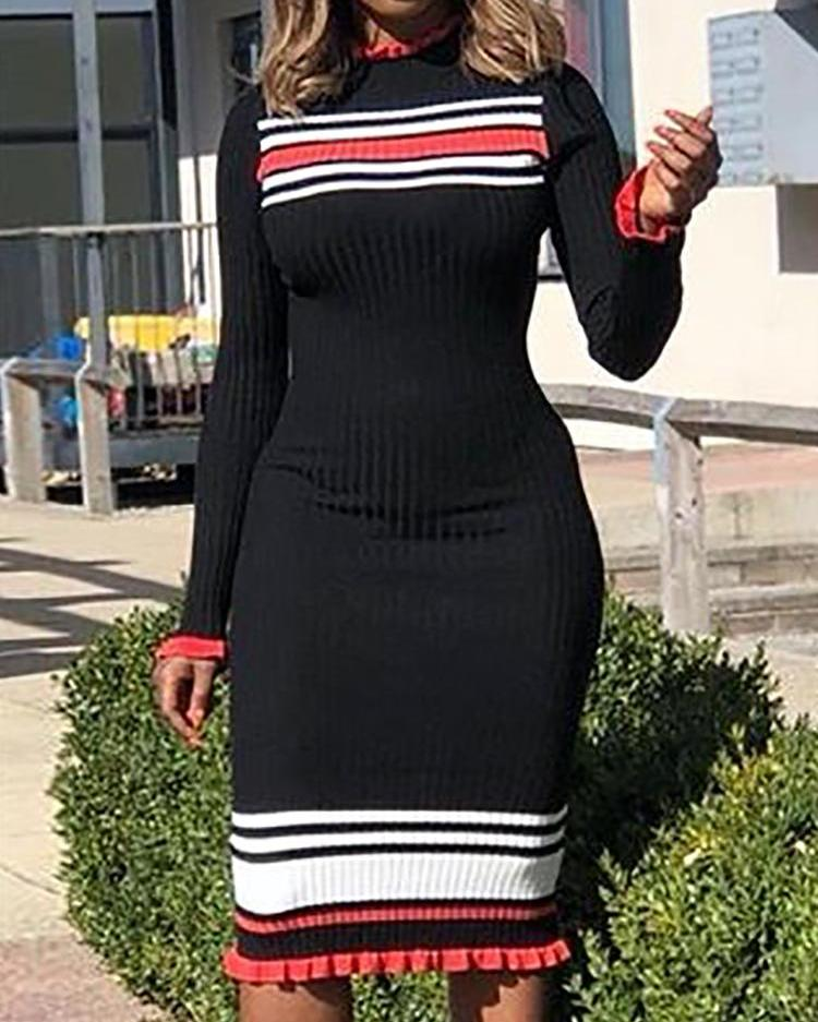 Striped Tape Frill Hem Long Sleeve Dress