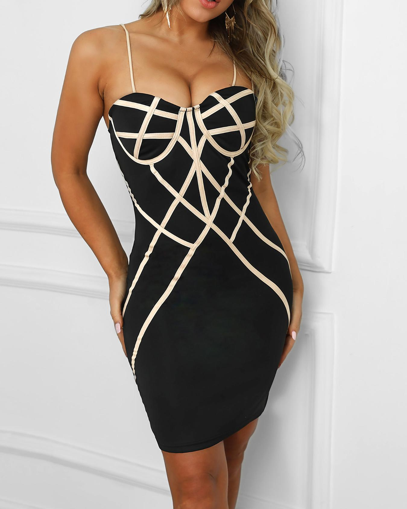Reflective-Striped Spaghetti Strap Bodycon Dress фото