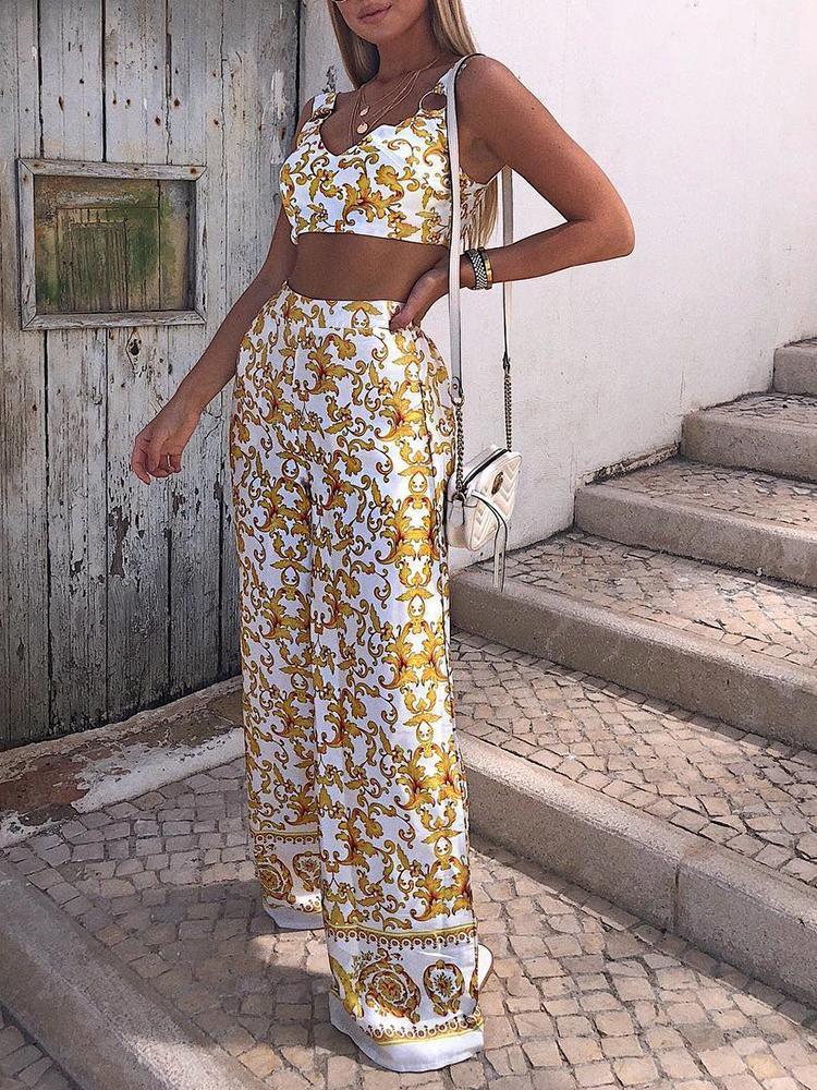 Digital Print Cropped Top&Long Pants Sets