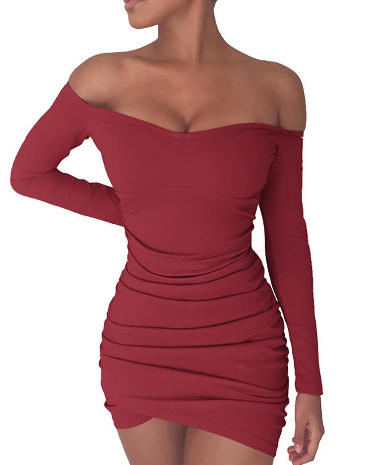 Купить со скидкой Women Off Shoulder Shirring Bodycon Mini Dress