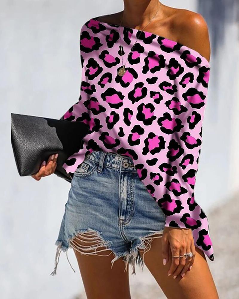 Off Shoulder Leopard Print Long Sleeve Blouse фото