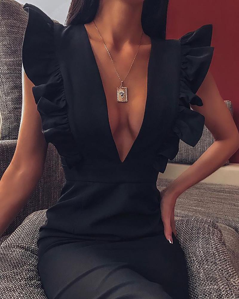 chicme / Ruffles Deep V Neck Sleeveless  Dress