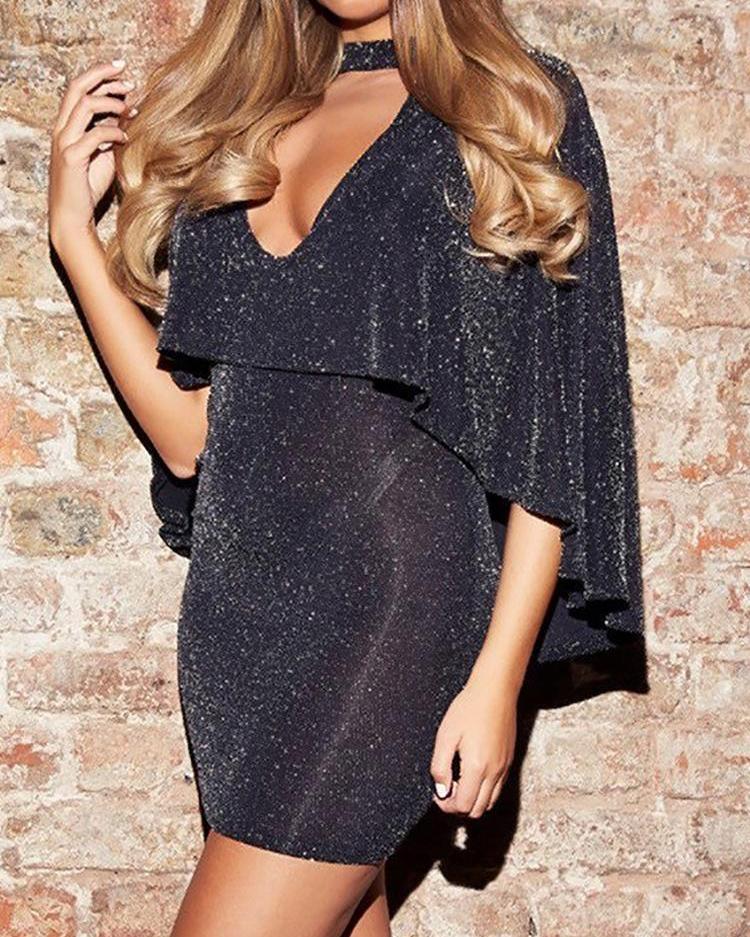 ivrose / Glitter Choker V-Neck Backless Cape Design Party Dress