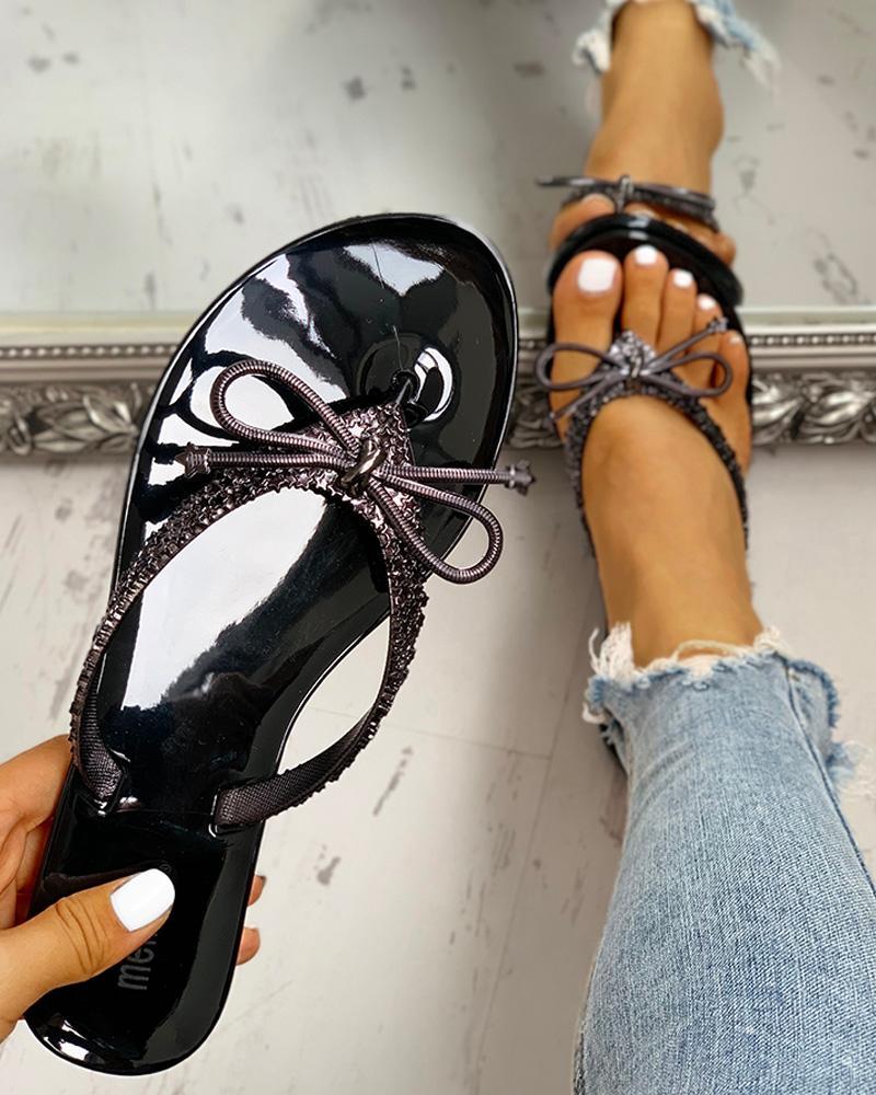 ivrose / Glitter Bowknot Design Toe Post Sandálias