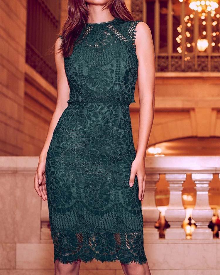 Eyelash Lace Crochet Sleeveless Dress фото