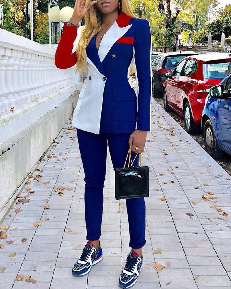 chicme / Conjuntos de chaqueta y pantalón cruzados con cuello de muesca Colorblock