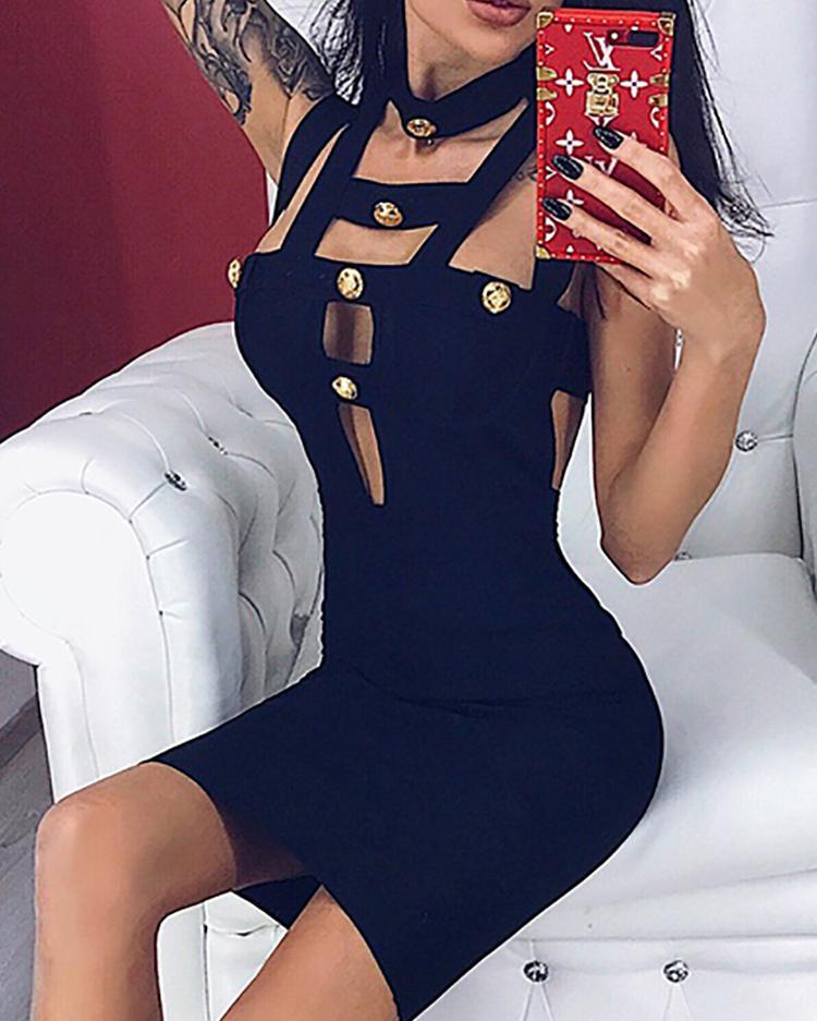 Button Bandage Cutout Design Bodycon Dress
