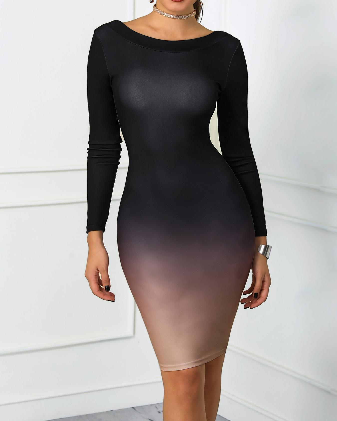Gradient Color Open Back Bodycon Dress