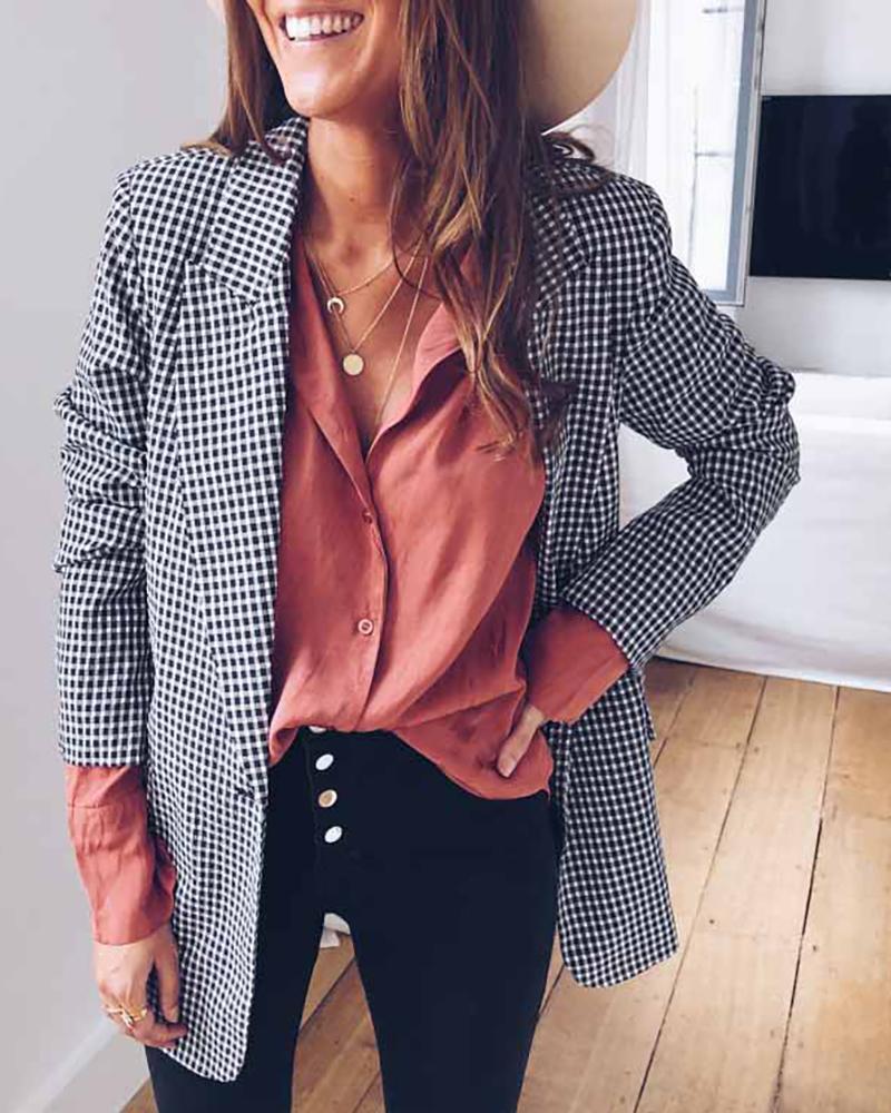 Notched Collar Plaid Long Sleeve Blazer фото
