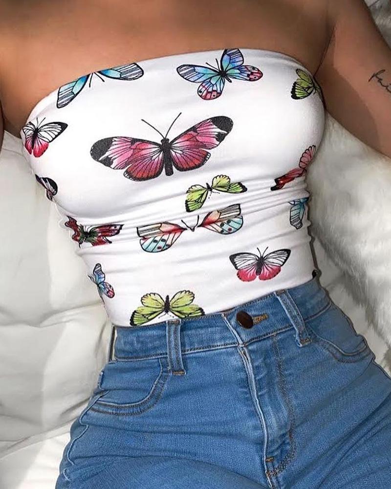 ivrose / Top com estampa borboleta