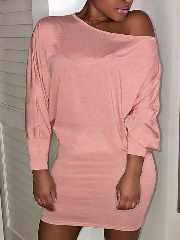 joyshoetique / Solid Batwing Sleeve Casual Dress