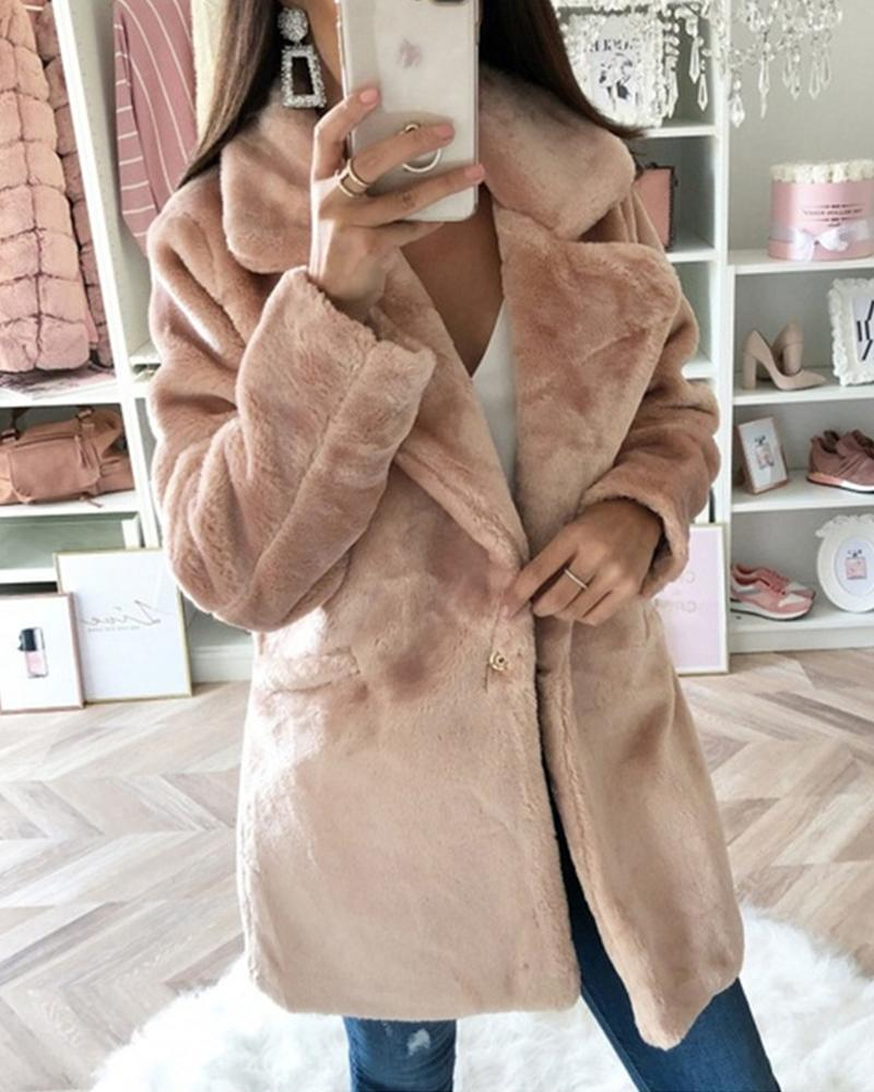 Solid Faux Shearling Pocketed Coat, Khaki
