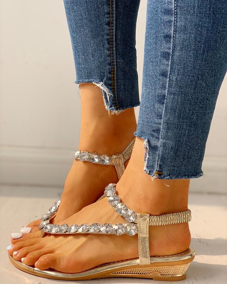 Stud Detail Slingback Thong Sandals фото