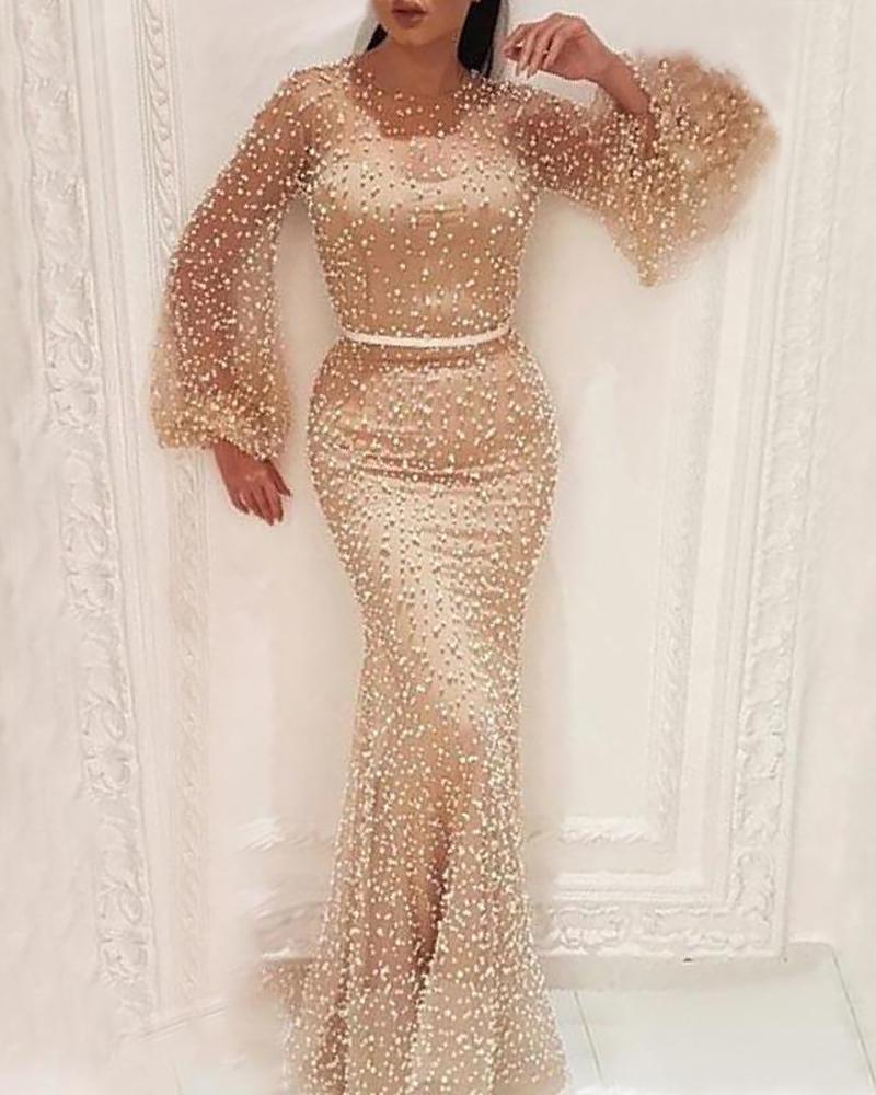 Sheer Mesh Beaded Puffed Sleeve Dress фото