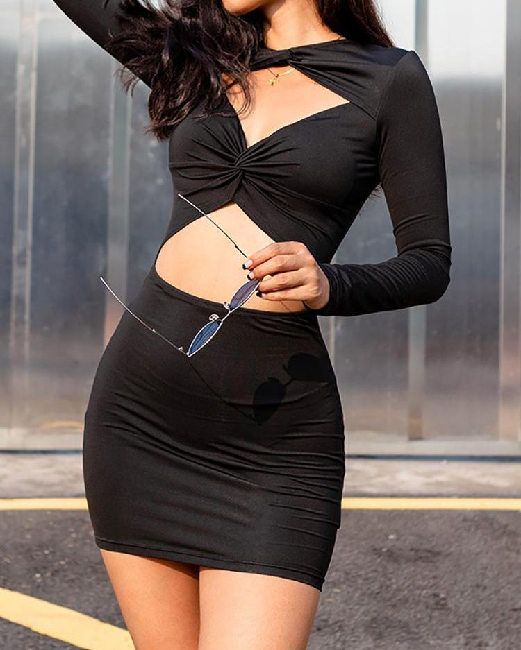 Cut Out Twisted Front Bodycon Dress, Black
