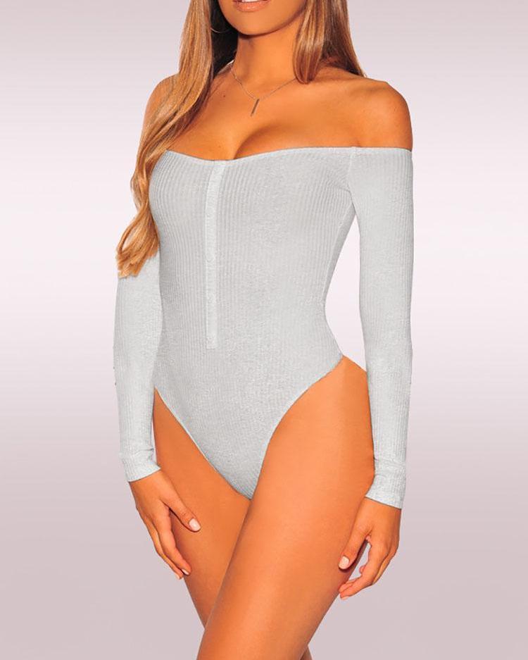 Off Shoulder Rib Button Detail Bodysuit фото