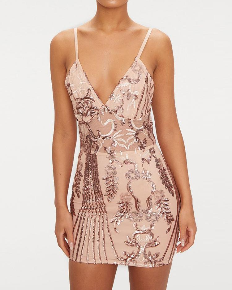 Deep V See Through Sequin Party Dress фото