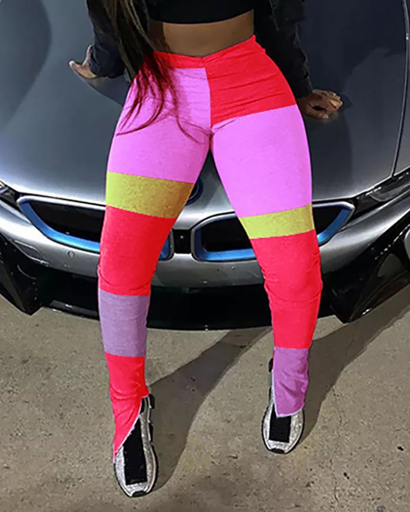 Colorblock Slit Detail Active Pants фото