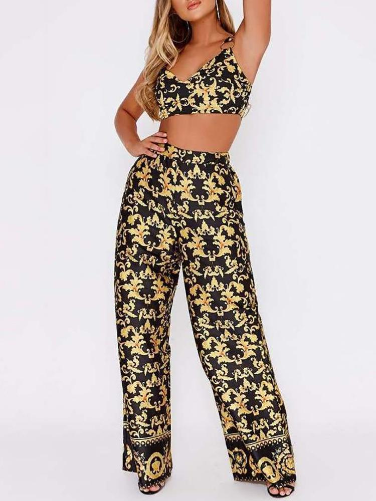 Digital Print Cropped Top&Long Pants Sets
