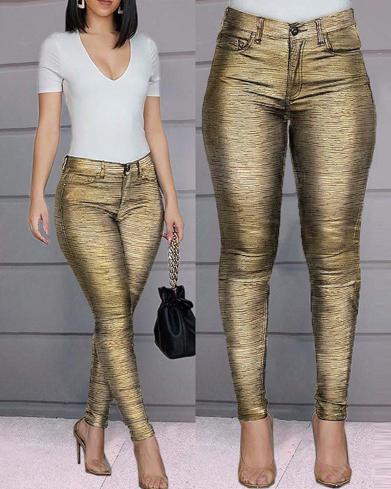 ivrose / Pantalones casuales con cremallera brillante