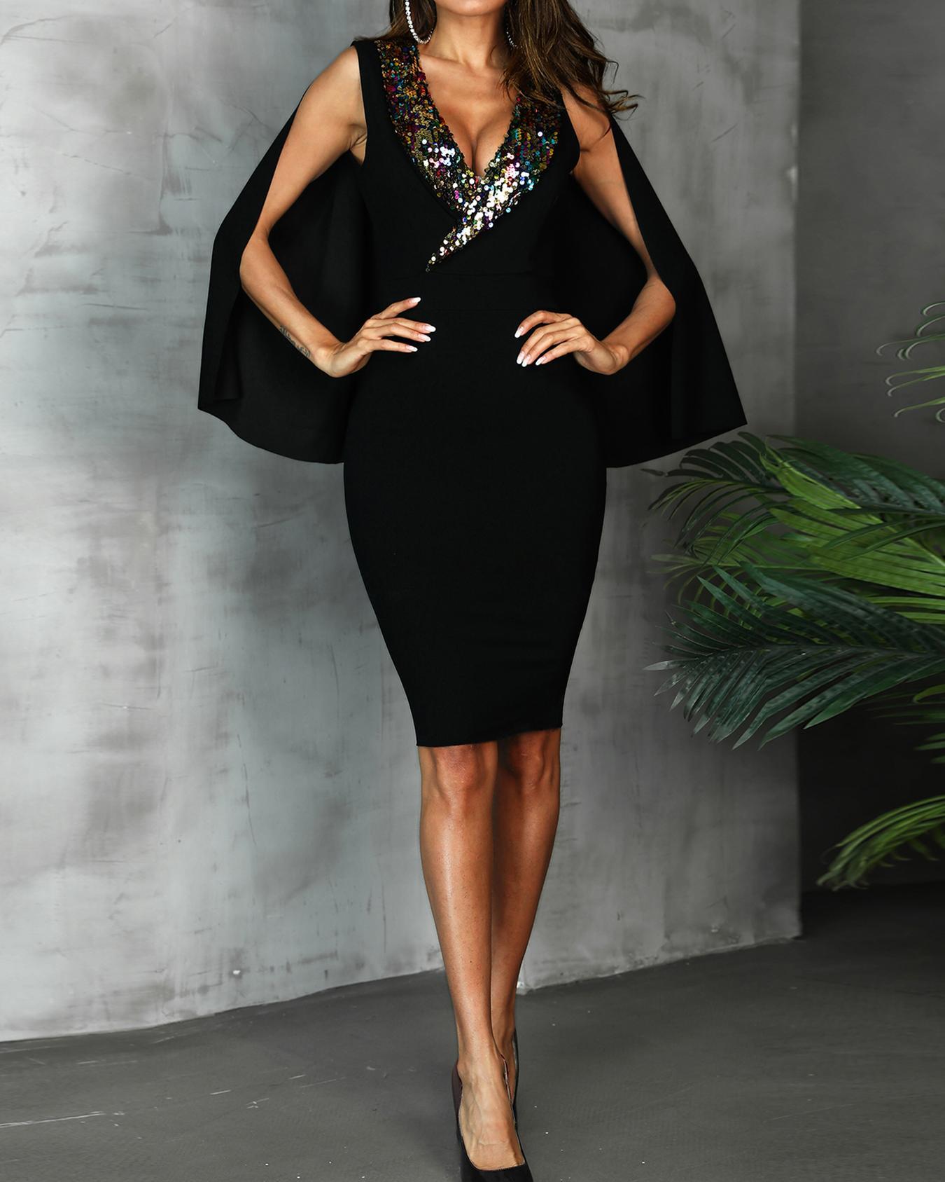 Sequin Collar Cloak Design Party Dress фото
