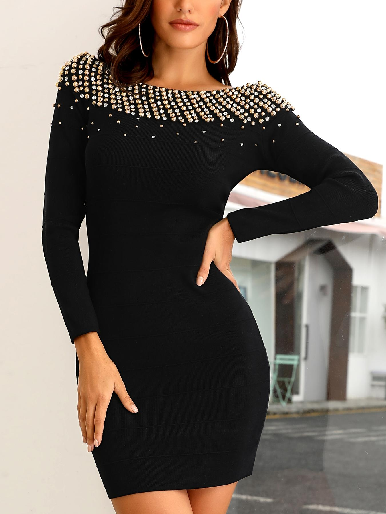 Studded Off Shoulder Bodycon Dress