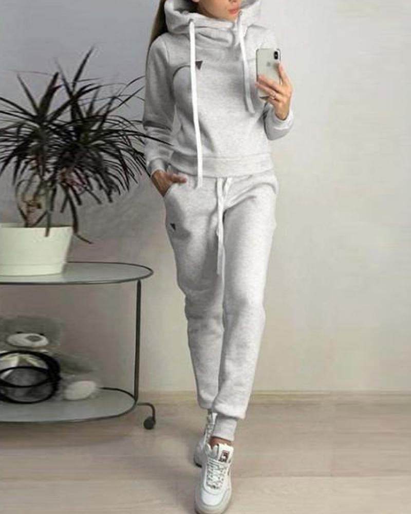 Solid Hooded Faux Fleece Tracksuit, Gray