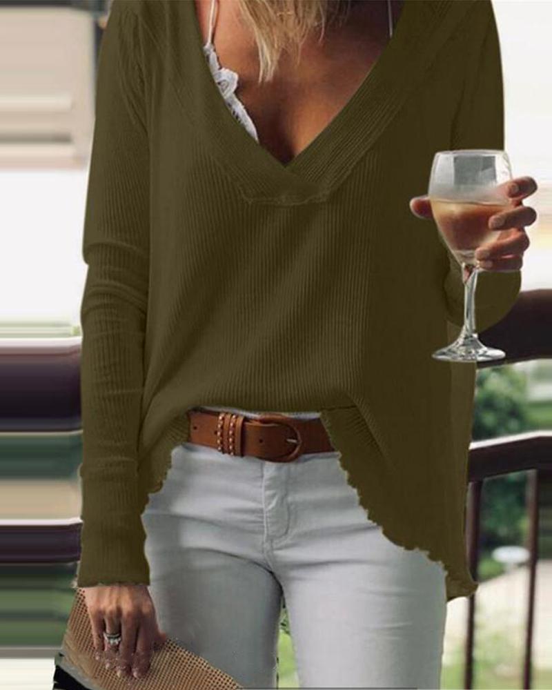 Brief Cozy V-neck Basic Sweatshirt
