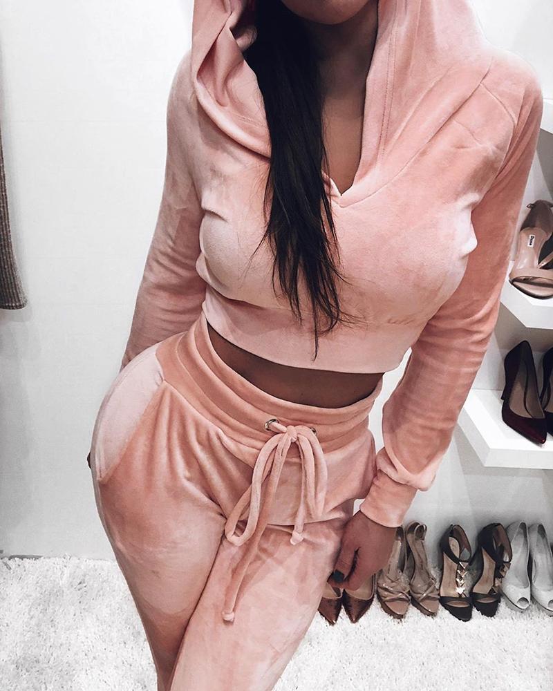 boutiquefeel / Solid Hooded Sweatshirt & Drawstring Pants Sets