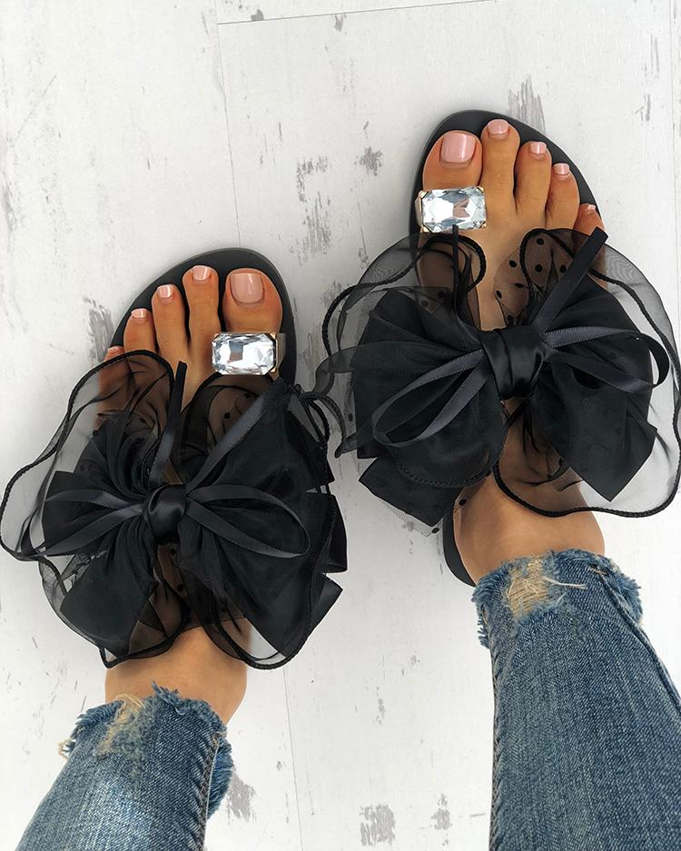 Fashion Cute Big Bow Tie Sandals Non Slip Flat Sandals