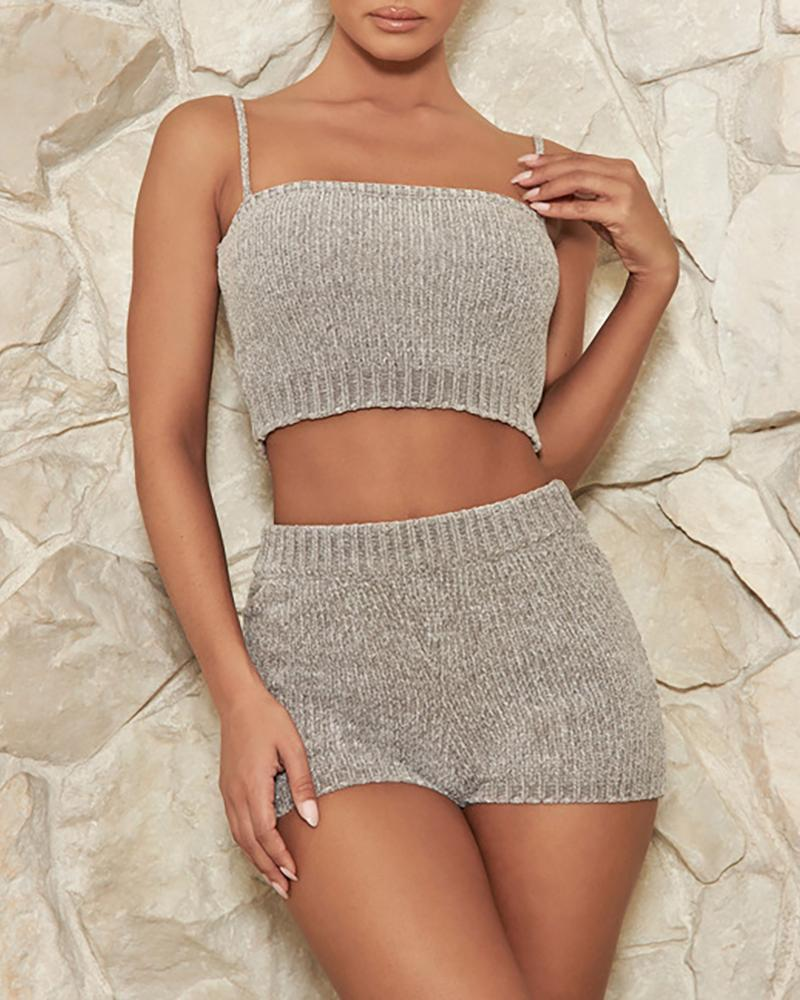 Spaghetti Strap Knitting Tank & Shorts Sets фото