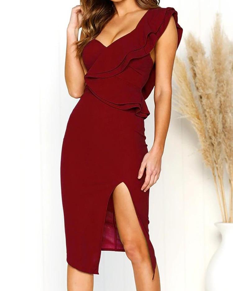 One Shoulder Ruffles Design Slit Party Dress фото