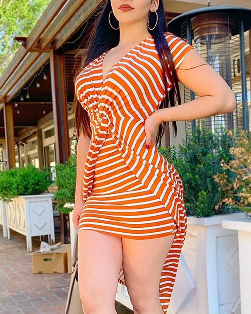 Striped Twist Short Sleeve Bodycon Dress фото