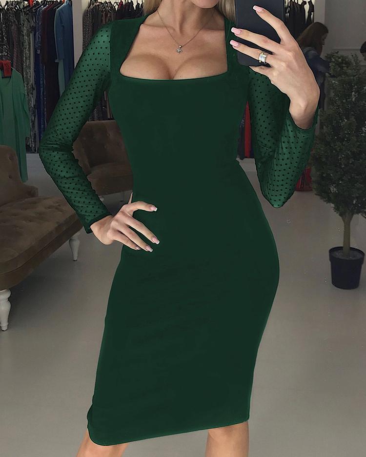 Dots Mesh Sleeve Midi Dress фото
