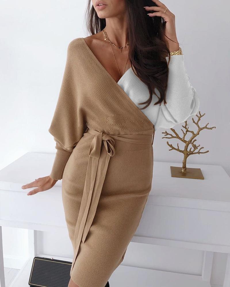 Colorblock Surplice Wrap Batwing Sleeve Ribbed Dress, Khaki