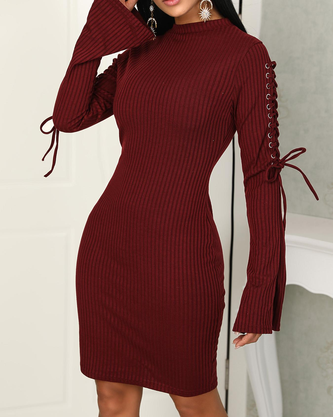 Solid Lace-Up Eyelet Flared Sleeve Bodycon Dress, Wine red