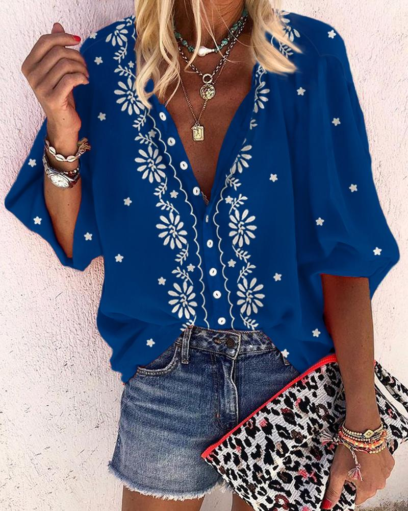 Floral Print V-Neck Casual Blouse фото