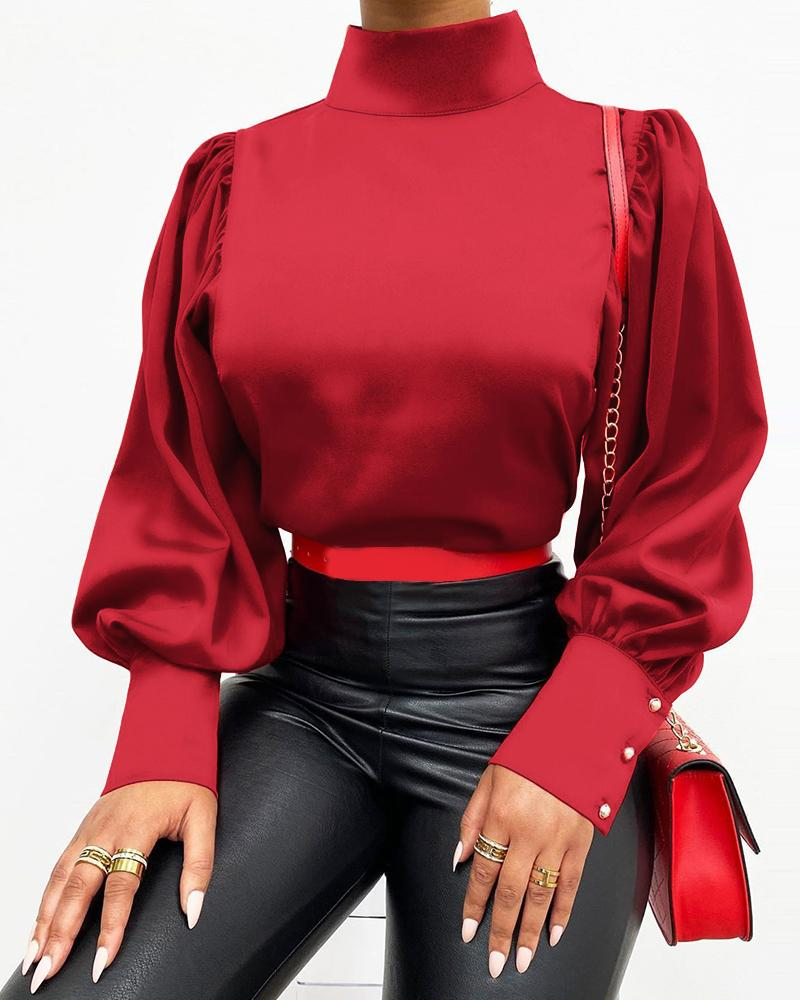 chicme / Buttoned High Neck Lantern Sleeve Blouse