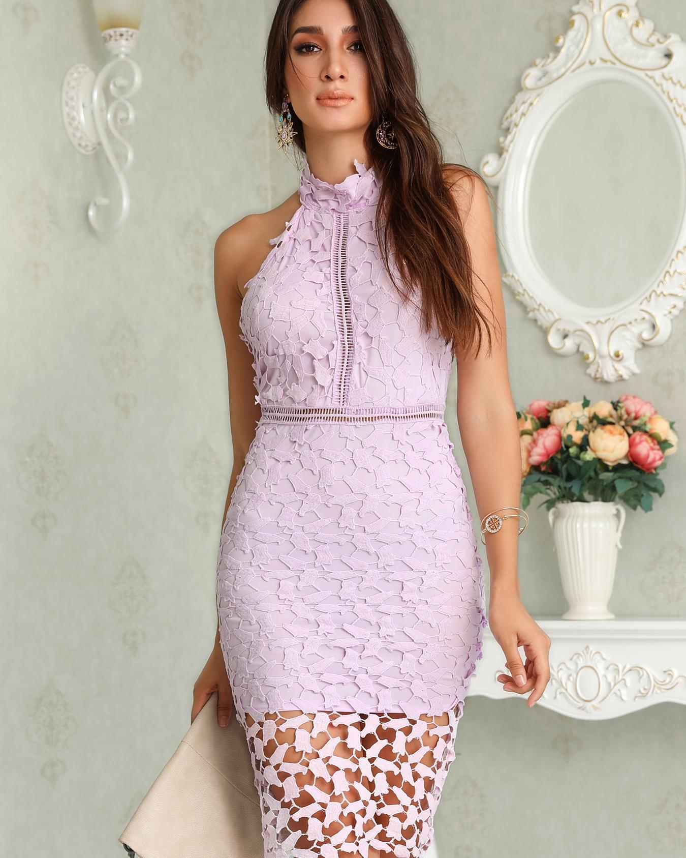 Halter Crochet Lace Hollow Out Midi Dress фото