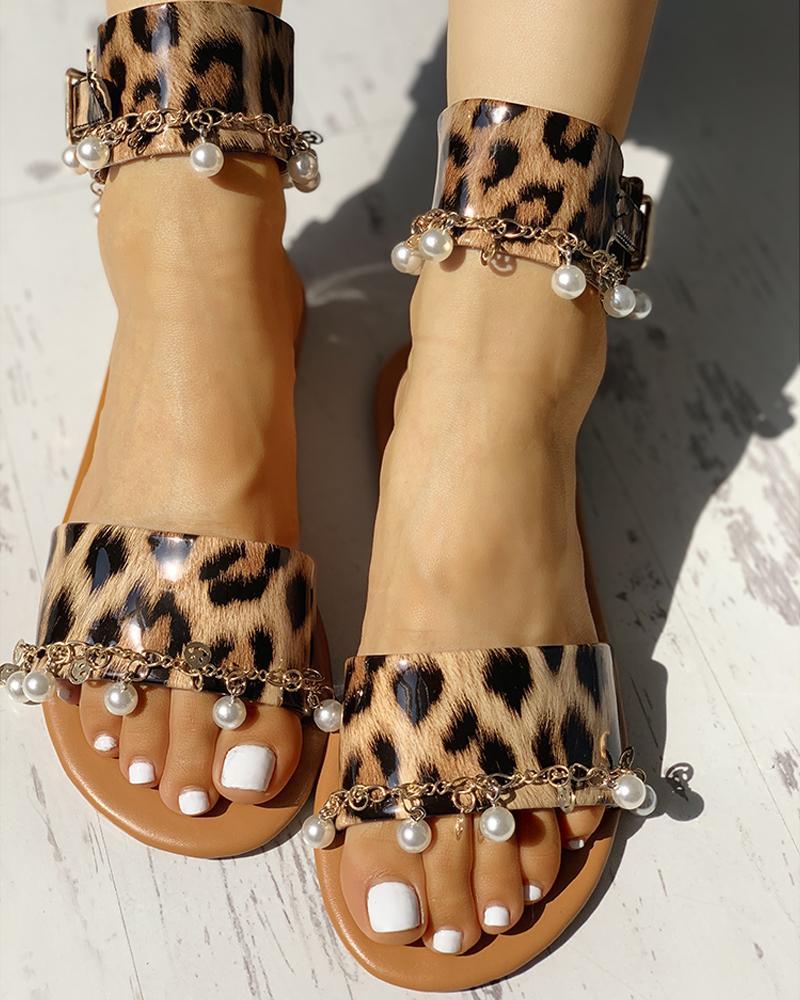 Leopard Bead Embellished Flat Sandals