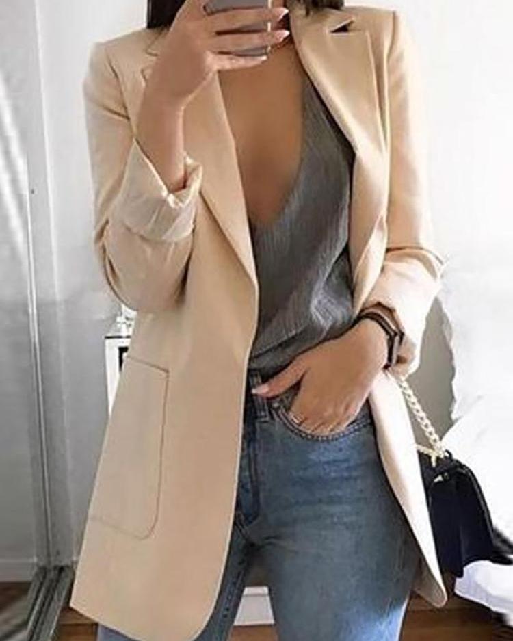 Dual Pockets Casual Blazer Coat