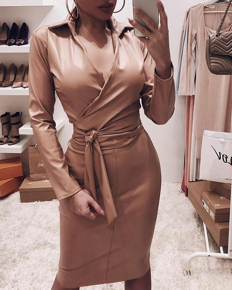 Plunge Bowknot Detail Long Sleeve Bodycon Dress, Khaki