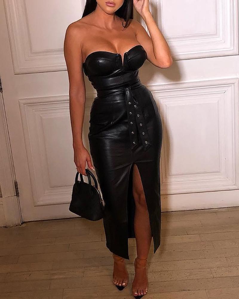 Solid Tube Slit Coated PU Dress, Black