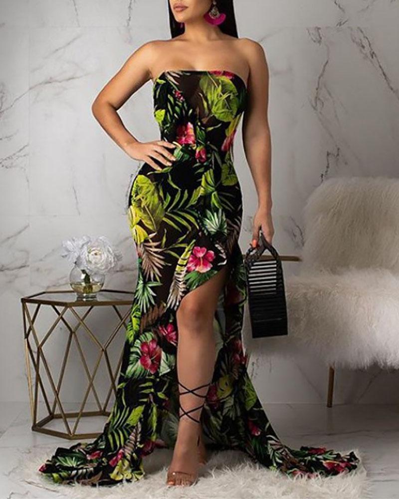 Ruffled Hem High Split Leaf Print Dress фото