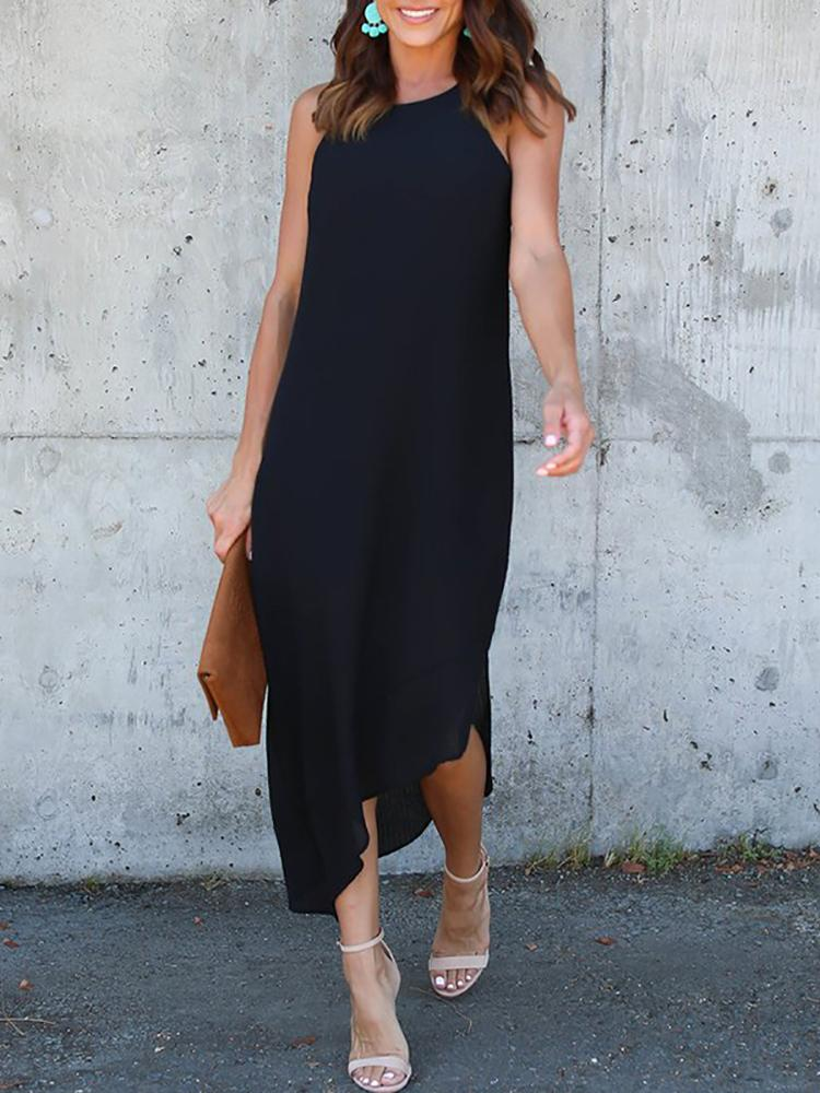 Asymmetric Cut Out Sleeveless Maxi Dress - Black