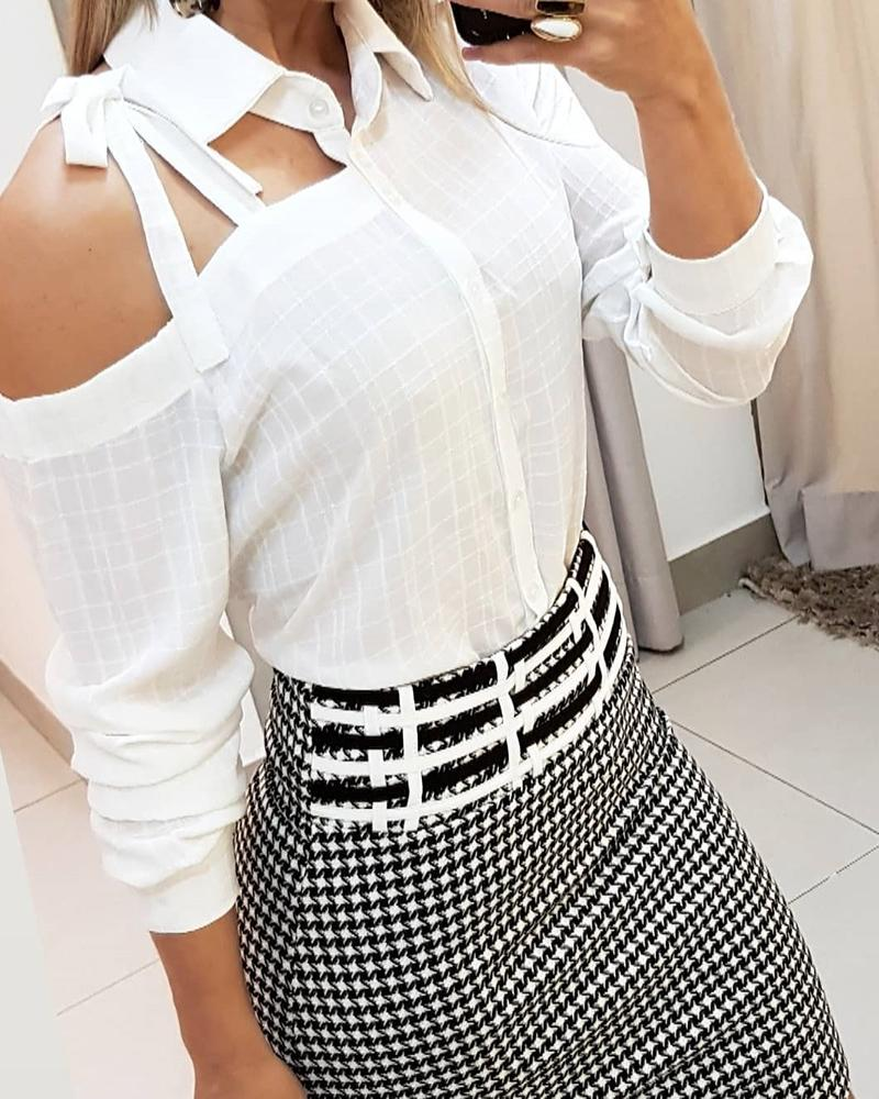 Irregular Cut Out Tied Detail Casual Blouse, White