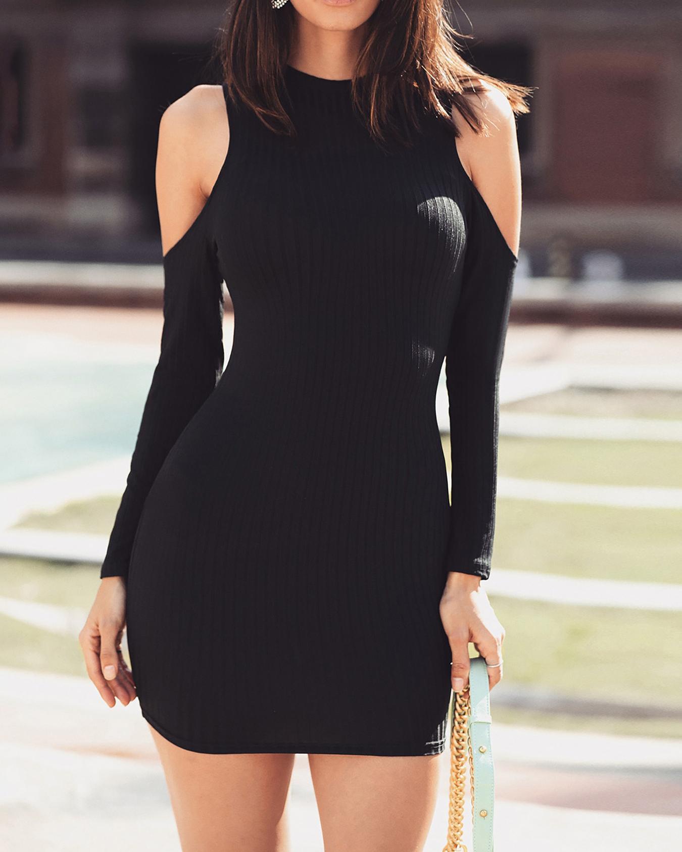 Solid Cold Shoulder Bodycon Dress фото