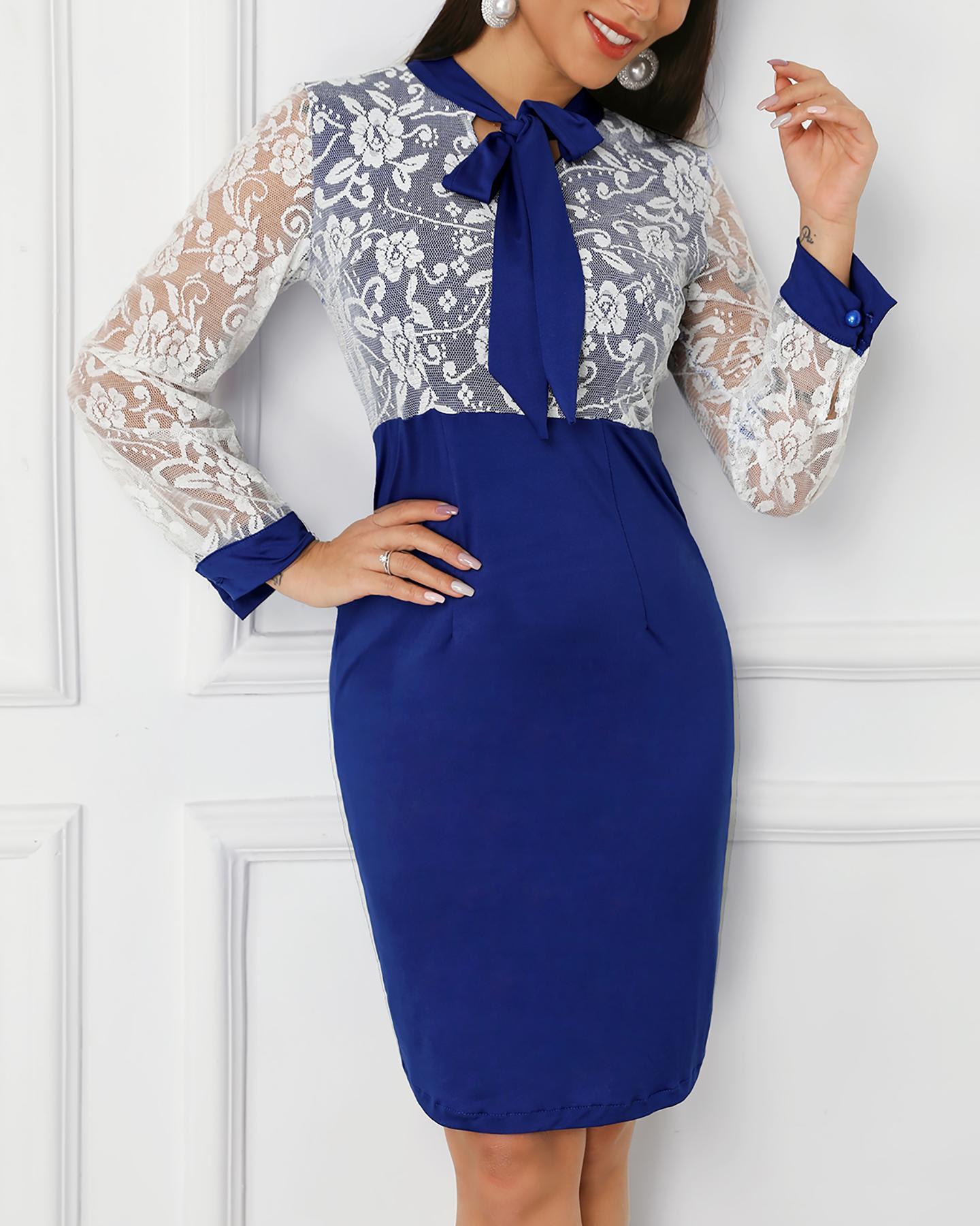 boutiquefeel / Vestido con detalle de encaje con cuello anudado