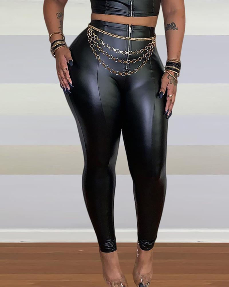 Solid Tight Leather Pants фото